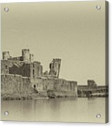 Caerphilly Castle Panorama Antique Acrylic Print