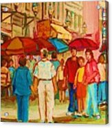 Cafe Crowds Acrylic Print