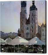 Cafe In Main Square Krakow Acrylic Print