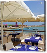 Cafe In White And Purple Acrylic Print