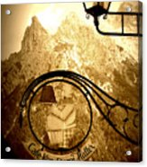 Cafe Sign In Bavarian Alps Acrylic Print