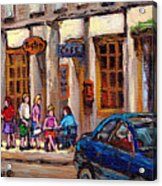 Outdoor Cafe Painting Vieux Montreal City Scenes Best Original Old Montreal Quebec Art Acrylic Print