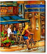Cafes With Blue Awnings Acrylic Print