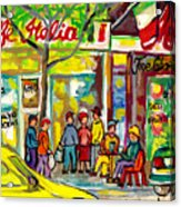 Caffe Italia And Milano Charcuterie Montreal Watercolor Streetscenes Little Italy Paintings Cspandau Acrylic Print