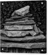 Cairns Rock Trail Marker Bluff Utah 01 Bw Acrylic Print
