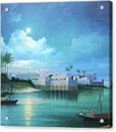 Cairo Under The Moonligh  Acrylic Print
