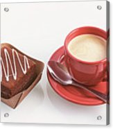 Cake And Cup Of Coffee Acrylic Print