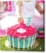 Cake Smash Pink Cake With Blue And White Stripes Acrylic Print