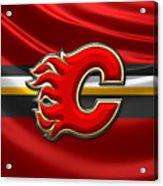 Calgary Flames - 3D Badge over Flag Acrylic Print