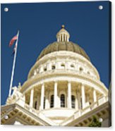 California Capitol Cupola And Flag Acrylic Print