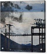 California Cascade Power Lines Acrylic Print