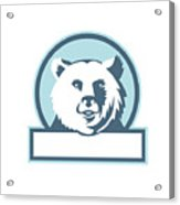 California Grizzly Bear Head Smiling Circle Retro Acrylic Print