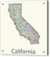 California Line Art Map Acrylic Print