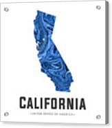 California Map Art Abstract In Blue Acrylic Print