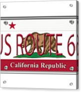 California Route 66 License Plate Acrylic Print