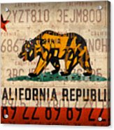 California State Flag Recycled Vintage License Plate Art Acrylic Print