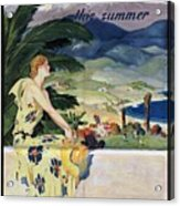 California This Summer - Travel By Train - Vintage Poster Folded Acrylic Print