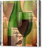 California Vineyard Wine Bottle And Glass Acrylic Print