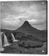 Calm Before The Storm At Kirkjufell Bw Acrylic Print