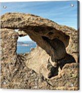Calvi In Corsica Viewed Through A Hole In A Rock Acrylic Print