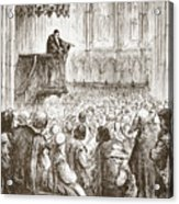 Calvin Preaching His Farewell Sermon In Expectation Of Banishment Acrylic Print