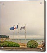 Camaret Sur Mer, Brittany, France, Bicyclist Acrylic Print