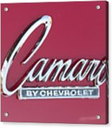 Camaro Emblem By Chevrolet Acrylic Print