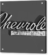 Camaro Logo In Black And White Acrylic Print