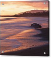 Cambria Coastline With Shimmering Sunset Color Acrylic Print
