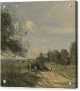 Camille Corot   The Wagon Souvenir Of Saintry Acrylic Print