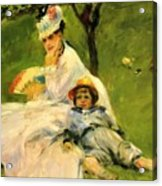 Camille Monet And Her Son Jean In The Garden At Argenteuil 1874 Acrylic Print