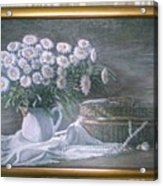 Camomile In The Pot And Busket With Pearls  Acrylic Print