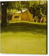 Camping In My Yellow Tent Acrylic Print