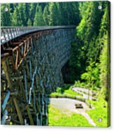 Canada National Historic Wooden Trestle- Kinsol Trestle Near Shawnigan Lake, Bc Canada. Acrylic Print