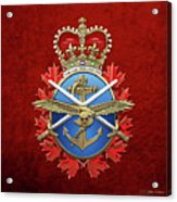 Canadian Armed Forces  -  C A F  Badge Over Red Velvet Acrylic Print