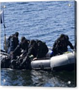 Canadian Divers Being Helped Aboard Acrylic Print