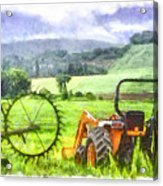 Canadian Farmland With Tractor Acrylic Print