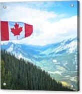 Canadian Flag Over Banff Acrylic Print