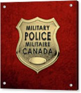 Canadian Forces Military Police C F M P  -  M P Officer Id Badge Over Red Velvet Acrylic Print