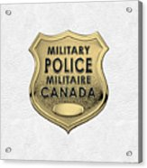 Canadian Forces Military Police C F M P  -  M P Officer Id Badge Over White Leather Acrylic Print