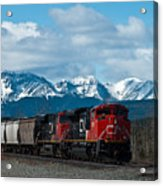 Canadian National Freight Train Leaving The Rockies - Hinton Alberta Acrylic Print