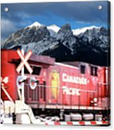 Canadian Pacific Trail Slices Through The Rockies Acrylic Print