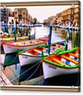Canal Boats On A Canal In Venice L A S With Decorative Ornate Printed Frame.  Acrylic Print