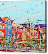 Canal Of Amsterdam, Bridge And Westerkerk Acrylic Print