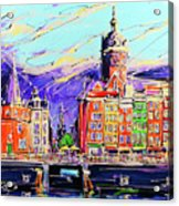Canal Of Amsterdam, Storm Is Comming Acrylic Print