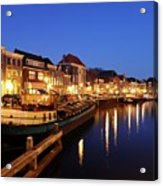 Canal Thorbeckegracht In Zwolle At Dusk With Boats Acrylic Print