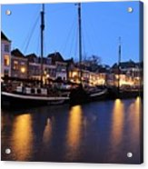 Canal Thorbeckegracht In Zwolle In The Evening Acrylic Print