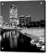 Canal Walk And Richmond Skyline In Black And White Acrylic Print