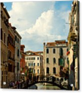 Canal With Iron Bridge In Venice Acrylic Print