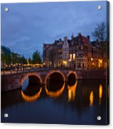 Canals Of Amsterdam At Night Acrylic Print